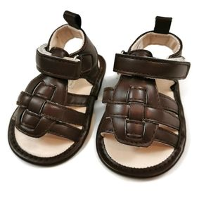 Brown Faux Leather Sandals 2